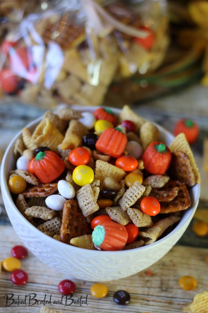 Autumn Candy Corn M&M snack mix in a bowl