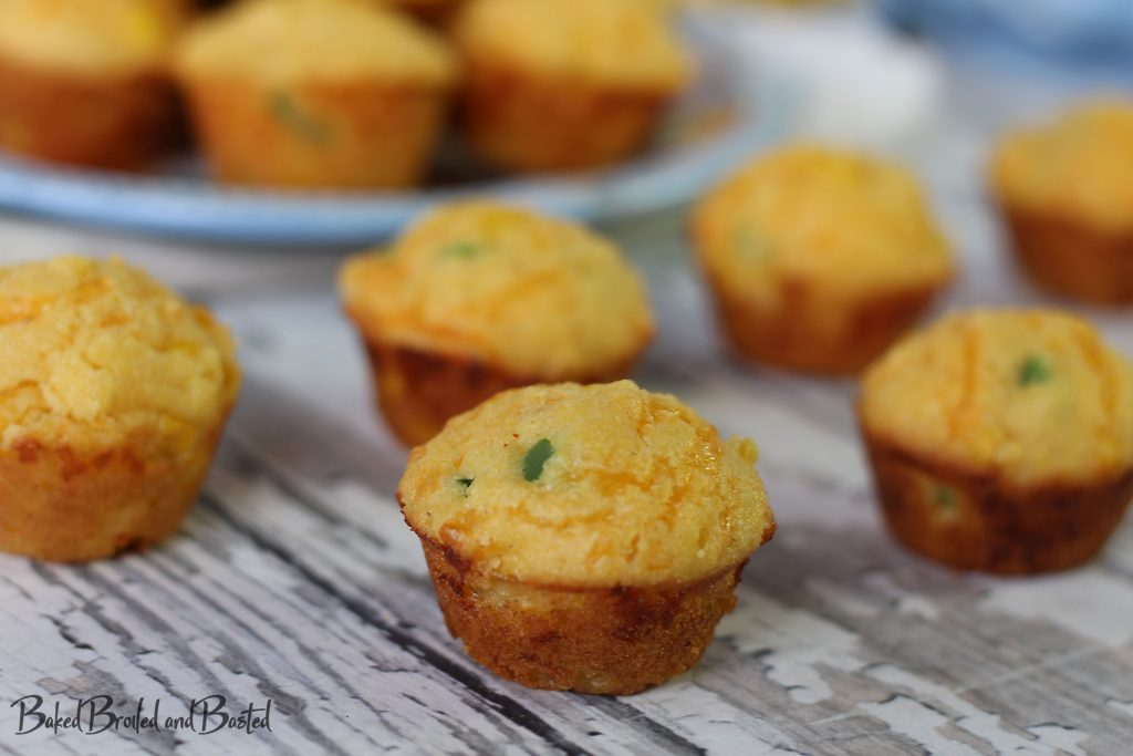 Cheddar Jalapeno Cornbread Muffins on a table