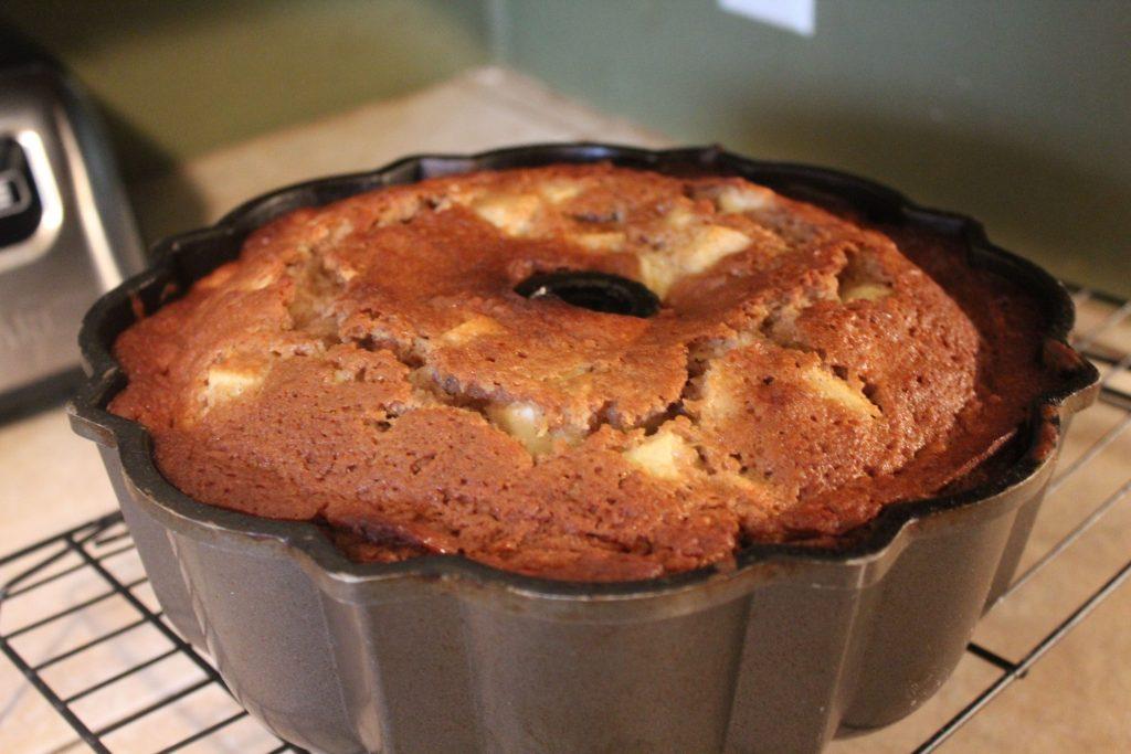 cooked Apple Bundt Cake in pan