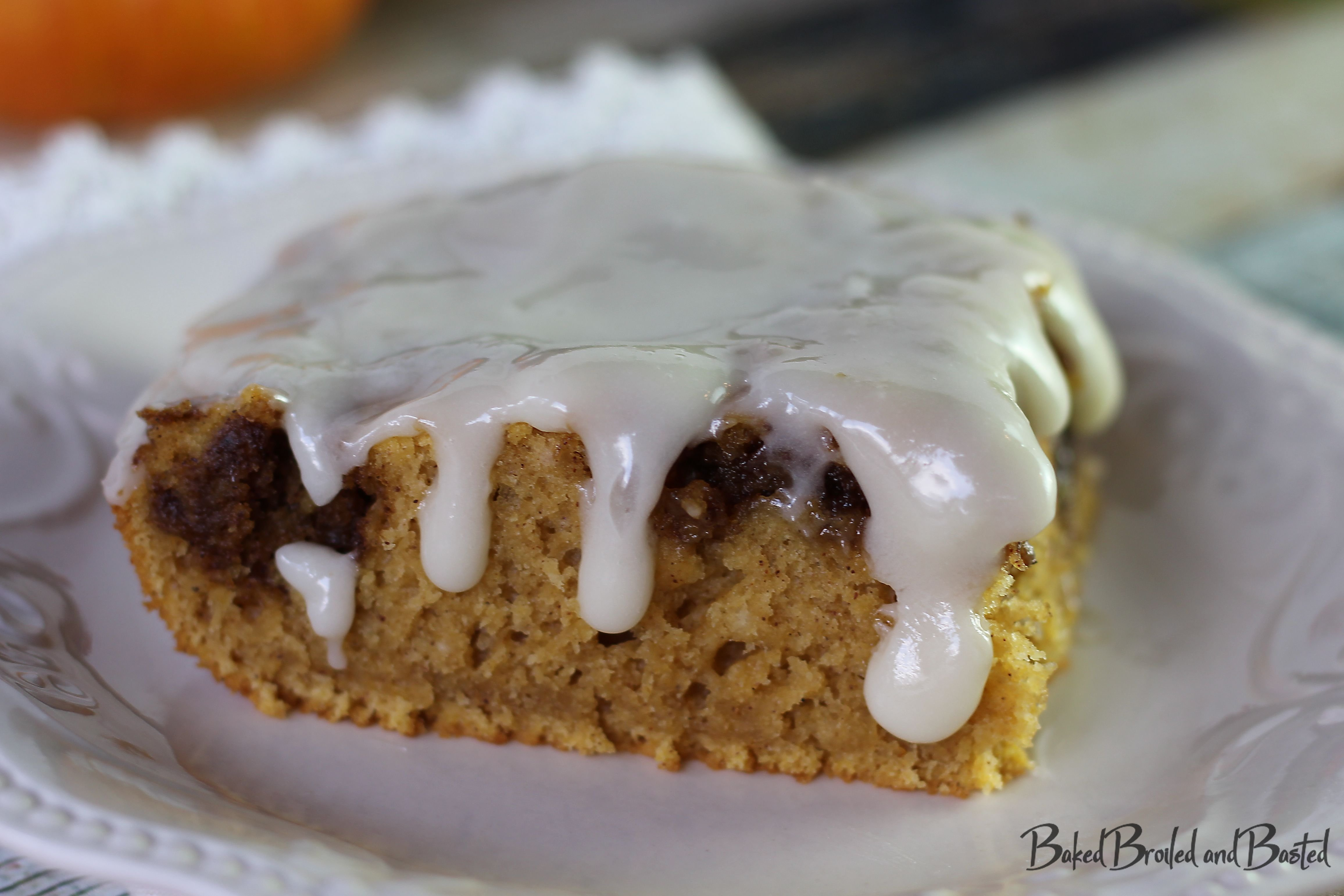 Pumpkin Spiced Cinnamon Roll Cake with Cream Cheese Glaze