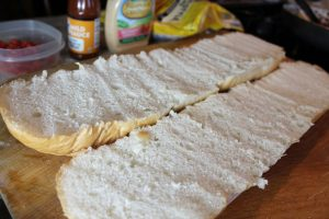 sliced french bread for the base