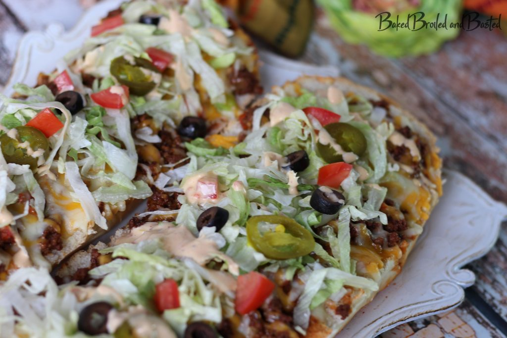 2 halves of taco french bread pizzas
