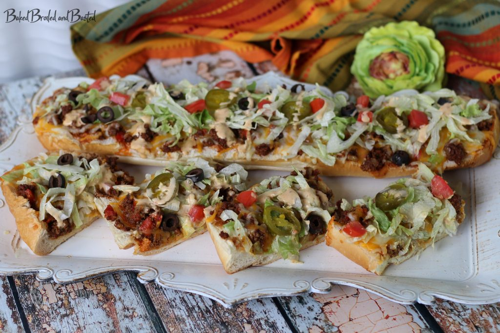 One whole taco french bread pizza and slices