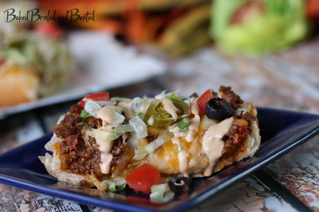 Slice of french bread taco pizza