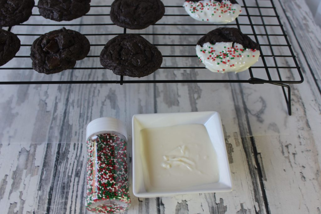 Dipped cookies with christmas sprinkles