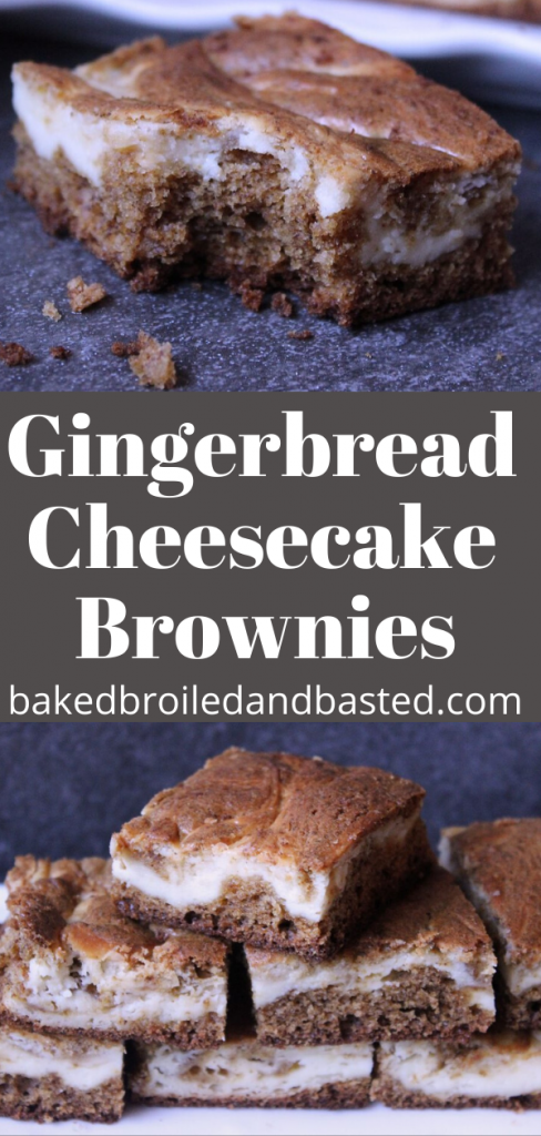 Gingerbread Cheesecake Brownies pin for Pinterest