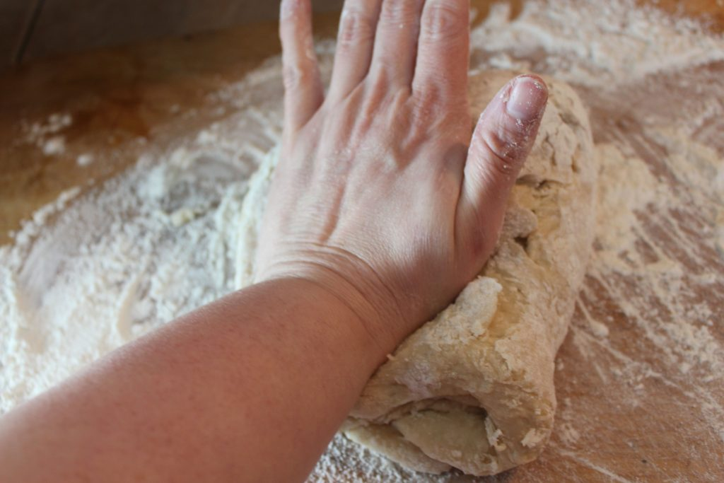 kneading the bread