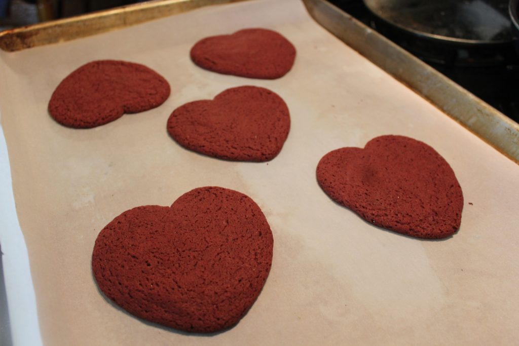 Baked red velvet heart cookies