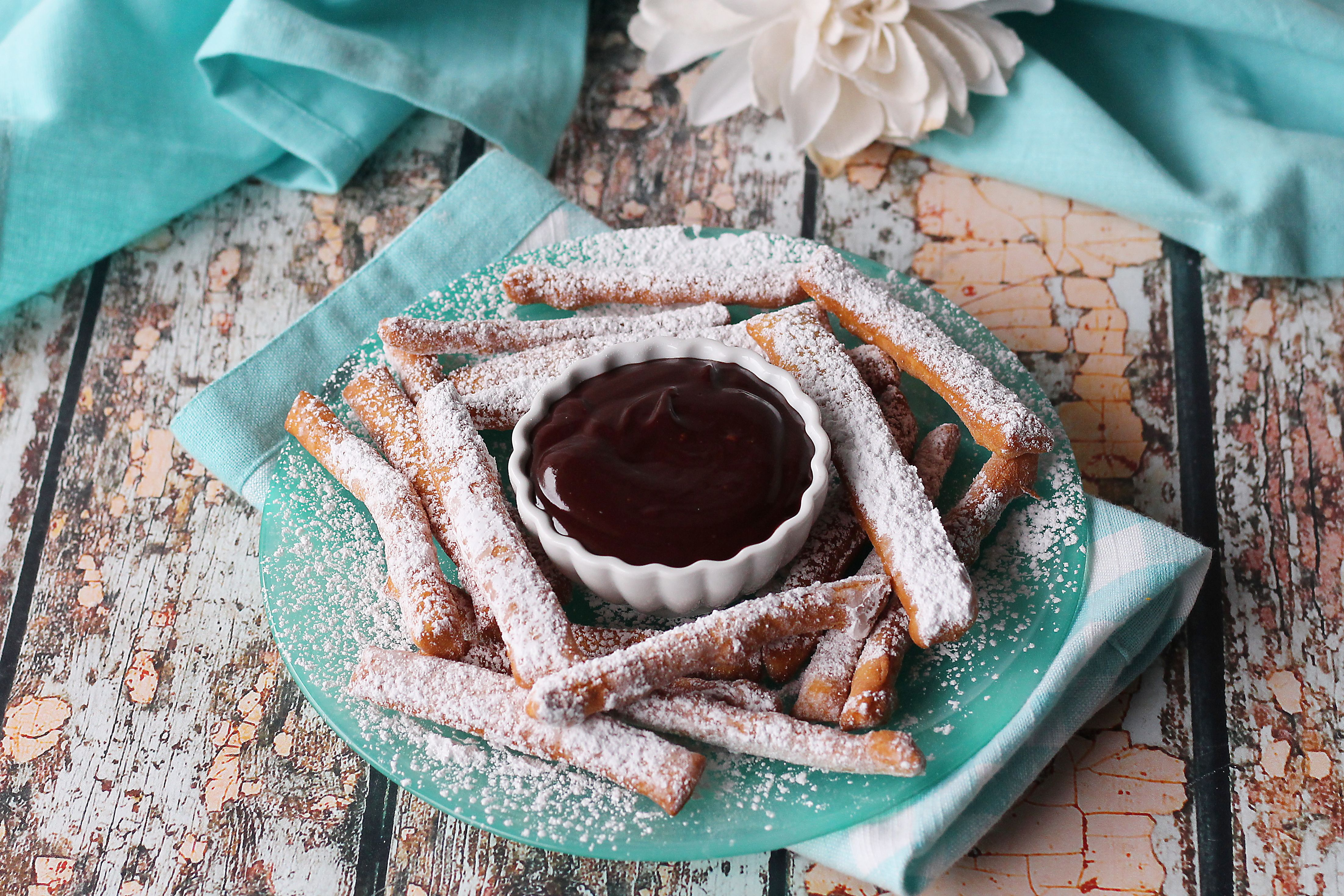 Beignet Fries and Chocolate Sauce| Baked Broiled and Basted