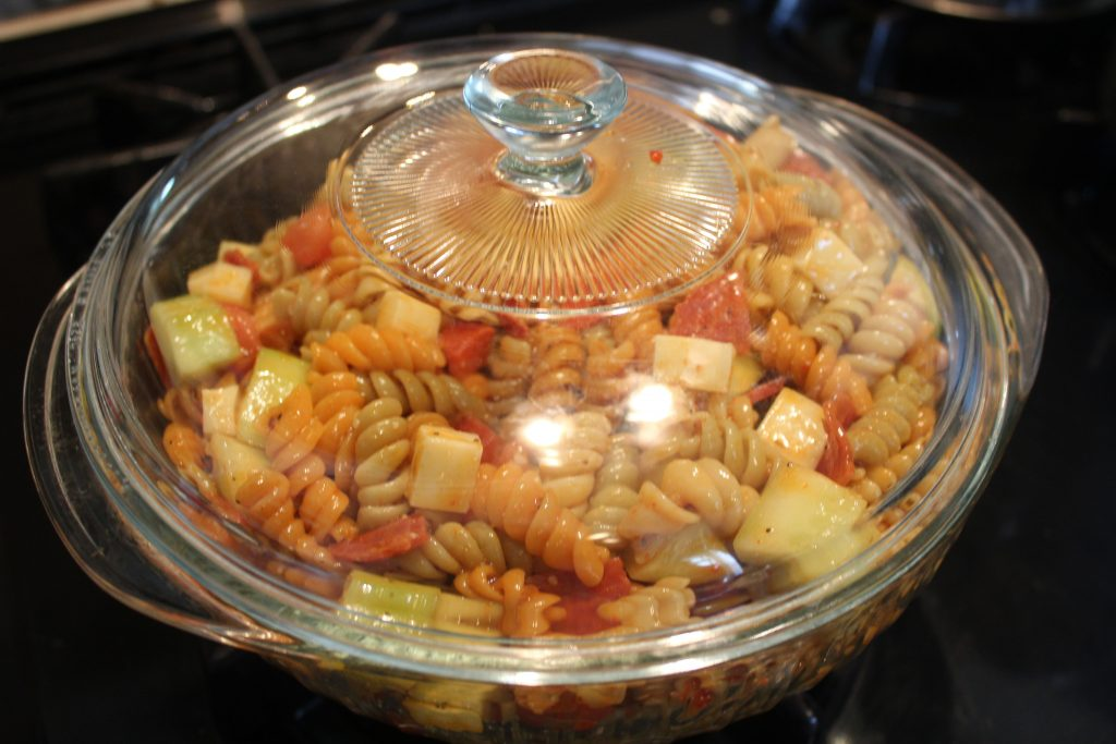 Mixed Zesty Pasta Salad covered and ready to chill