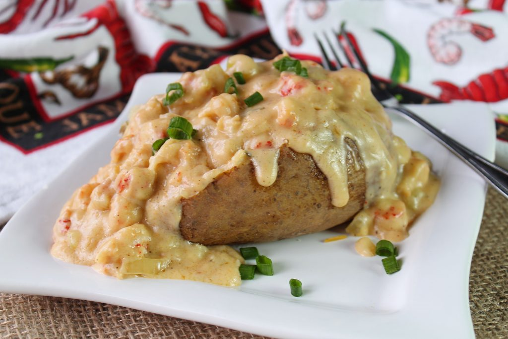 Creamy Crawfish Baked Potatoe on a plate