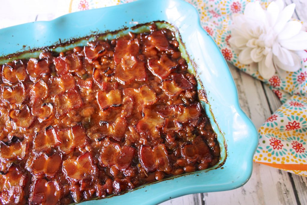 Angry Pig Baked Beans in blue baking dish