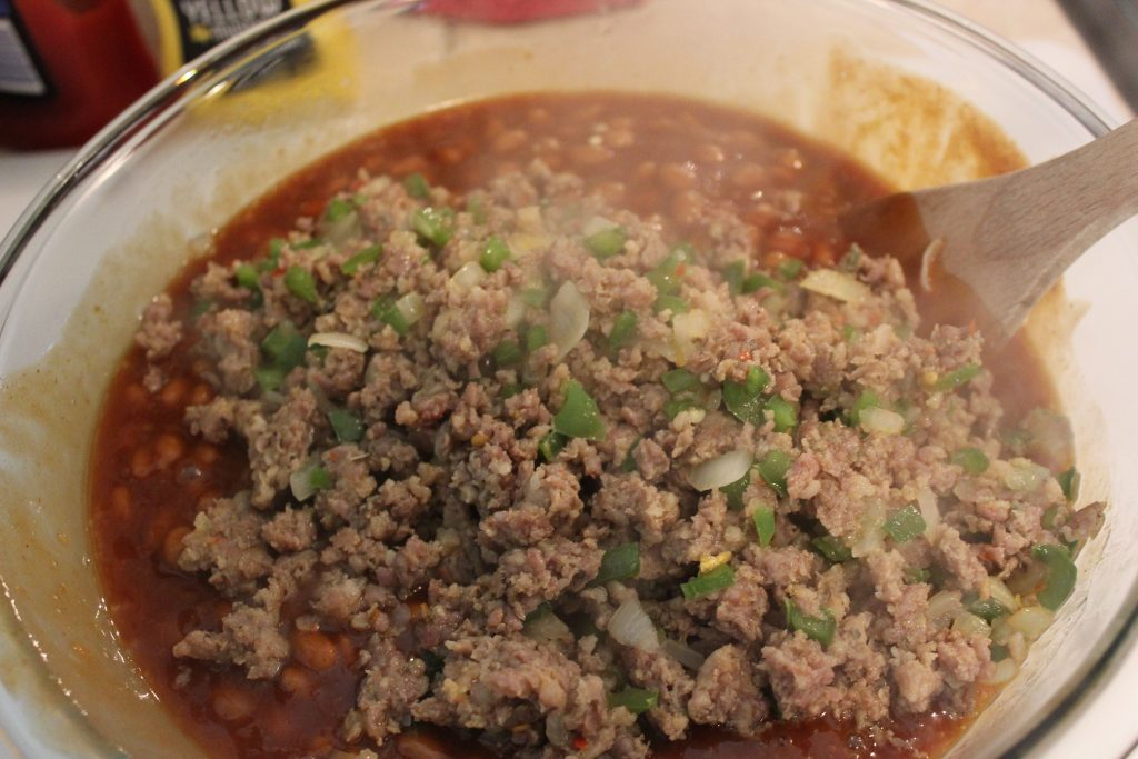 Bean Mixture and ground pork being mixed