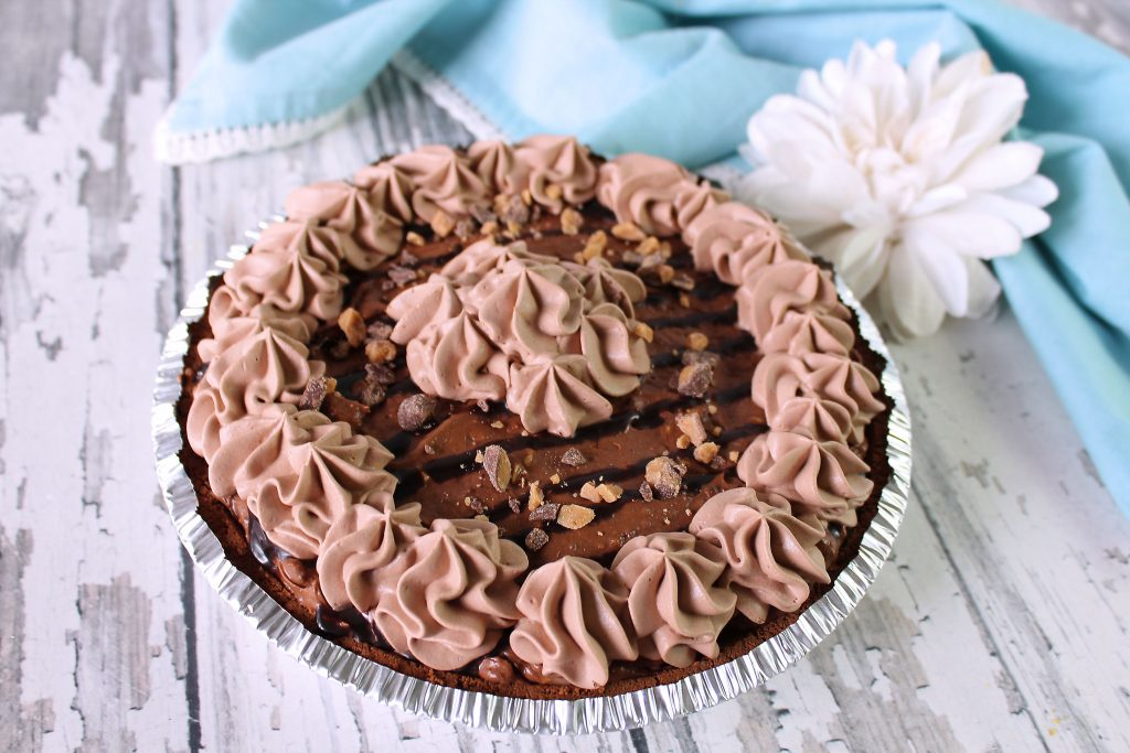 Whipped Chocolate candy Crunch pie in a pie pan