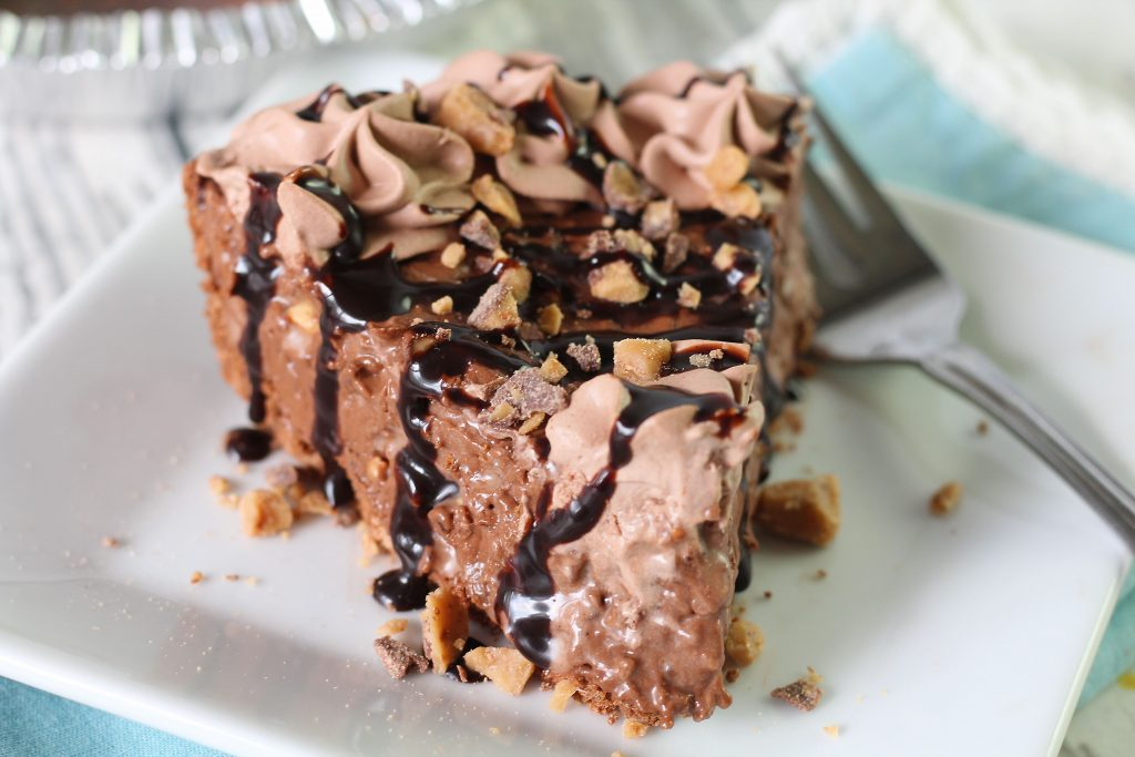 A slice of Whipped Chocolate candy Crunch pie