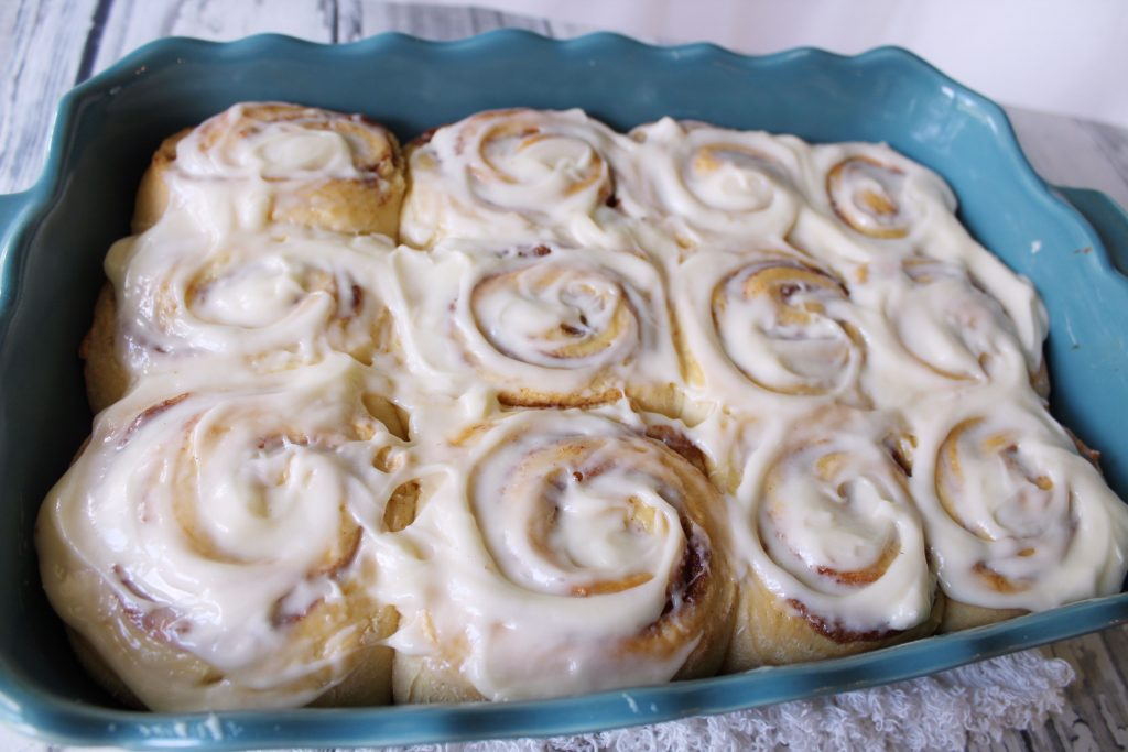 A pan a cooked cake mix cinnamon rolls