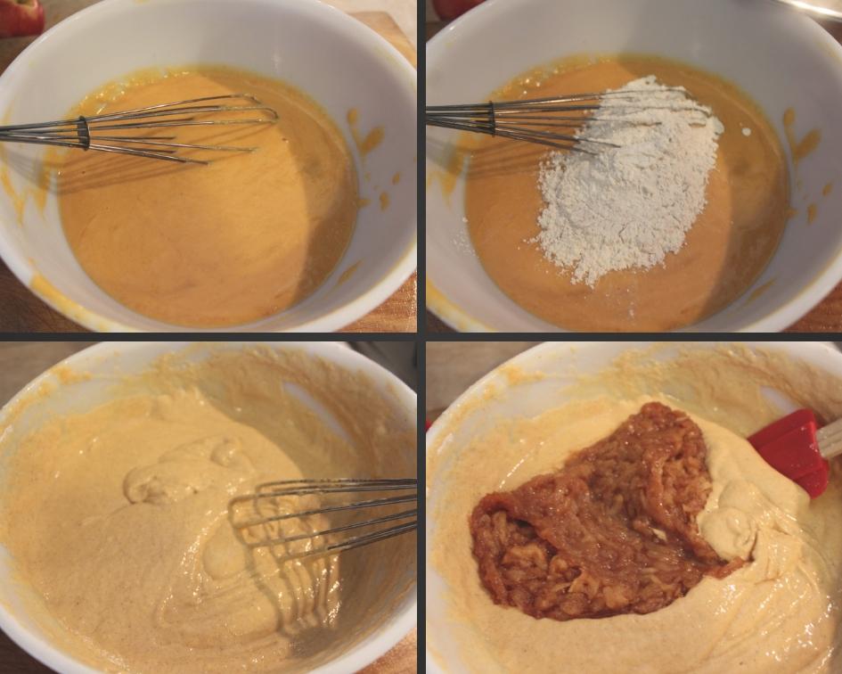 Mixing Spiced Pumpkin Apple Pancakes