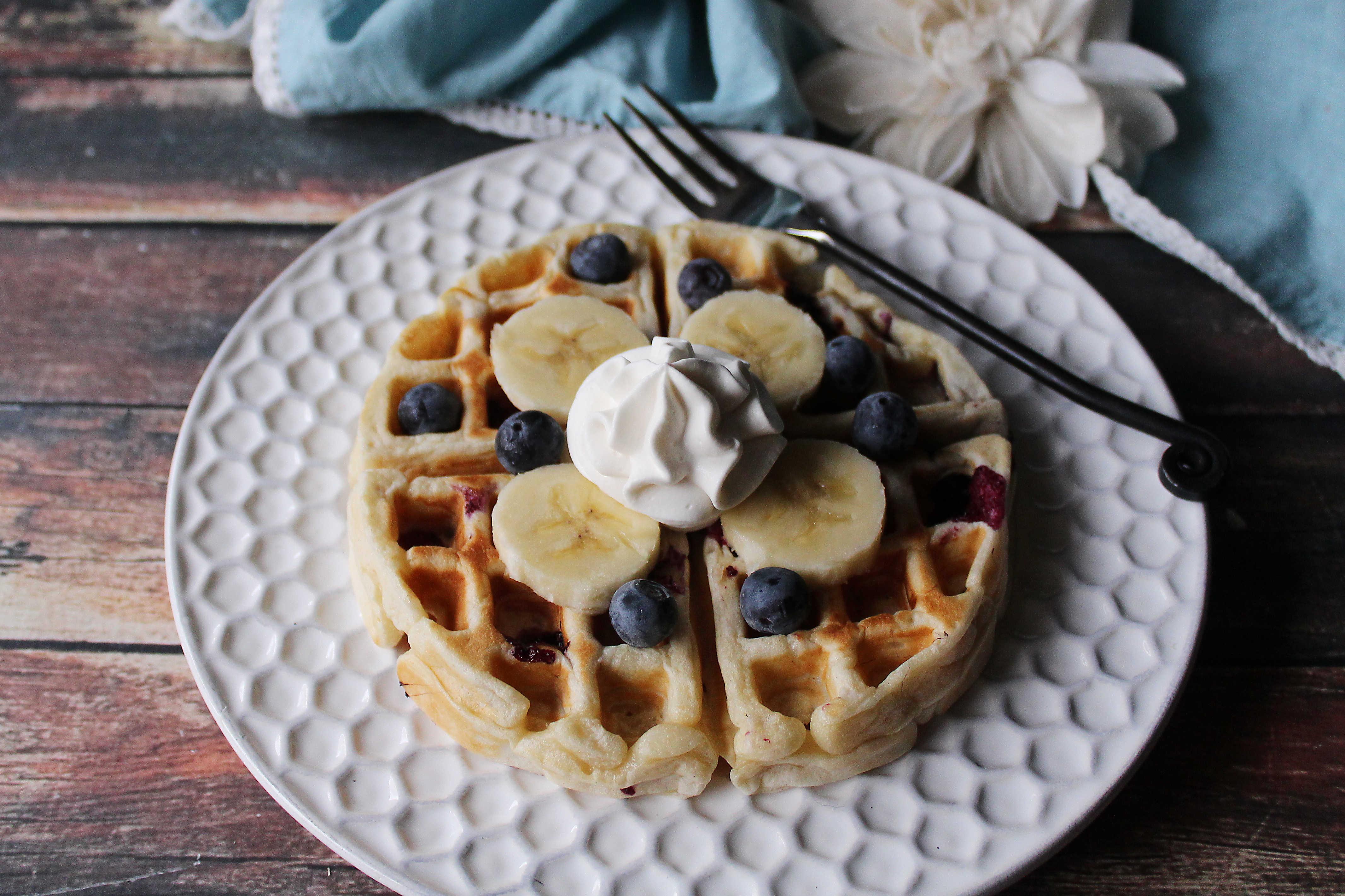 Banana Blueberry Waffles