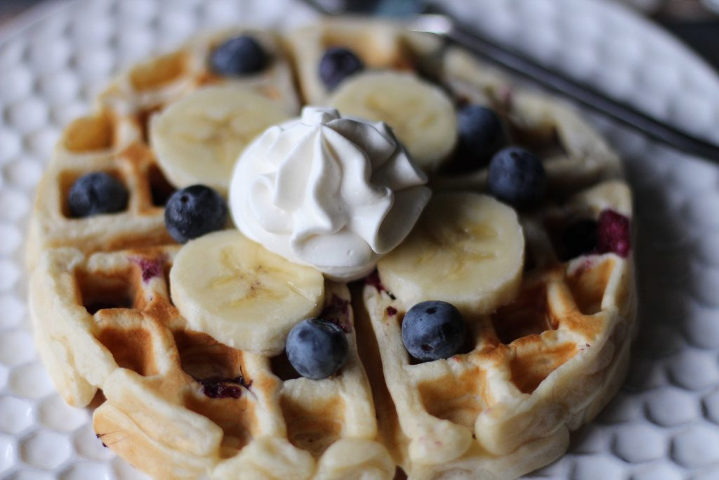 Banana Blueberry Waffles up close