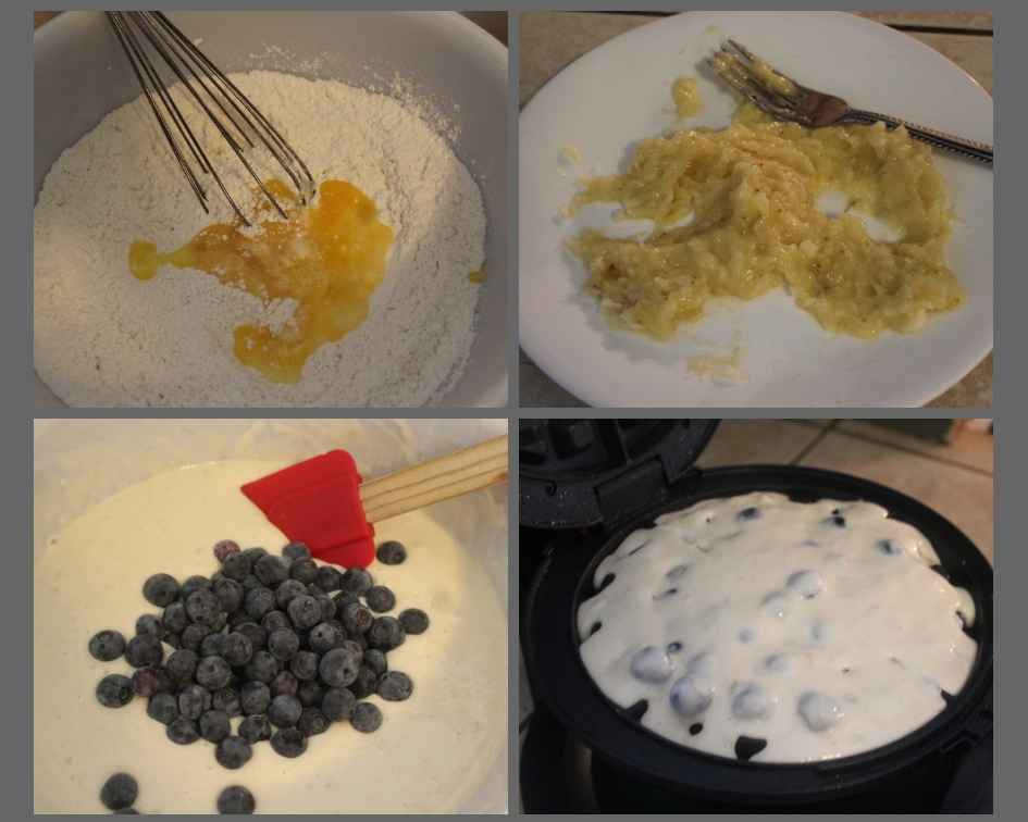 Steps to make banana blueberry waffles