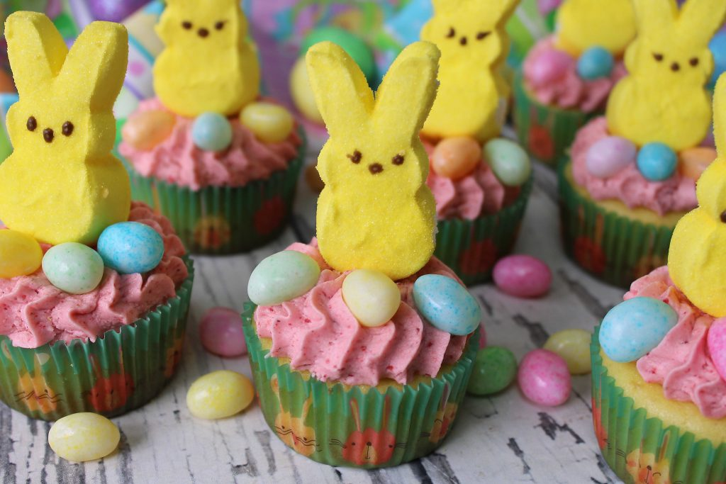 Easter Cupcake with bunny peeps and jelly beans