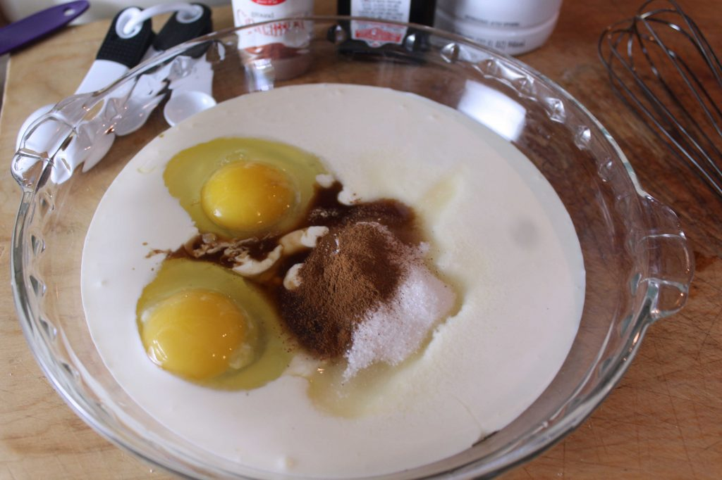 Eggs, cream, sugar and cinnamon