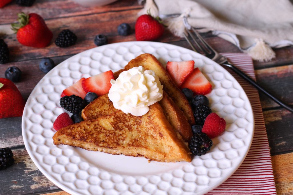 Brioche French Toast with berries and whipped cream
