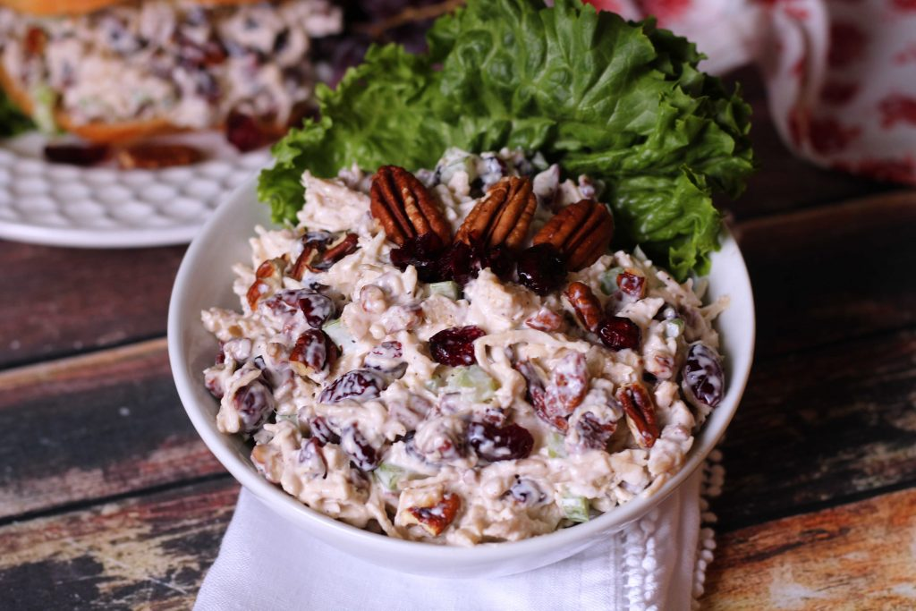 Cranberry Pecan Chicken Salad in a white bowl