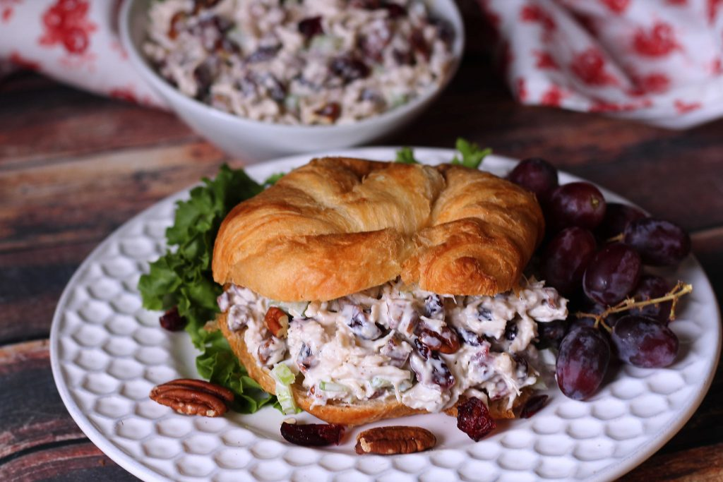 Cranberry Pecan Chicken Salad on a crossiant