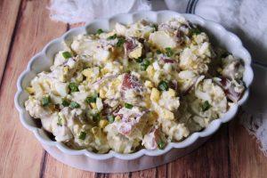 Potato Salad in a white serving dish