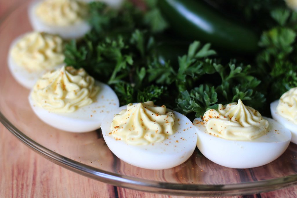 Jalapeno Cream Cheese Deviled Eggs up closse