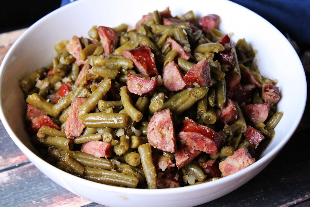 Southern Smoky Green Beans in a serving bowl