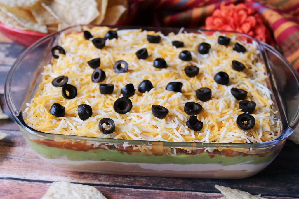 Tex Mex Layered Dip showing all the layers