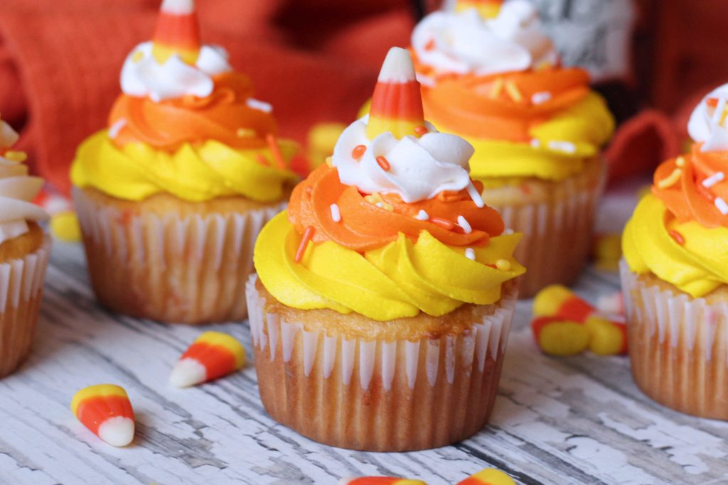 Candy Corn Funfetti Cupcakes up close