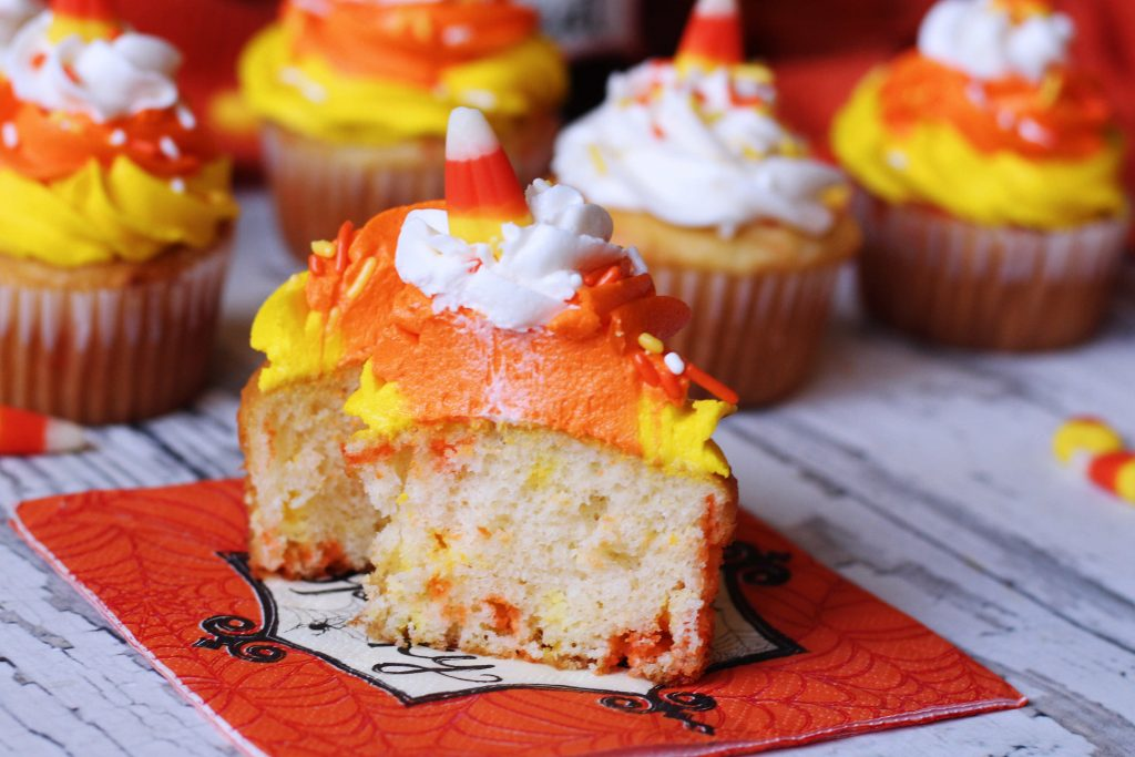 Candy Corn Funfetti Cupcakes cut in half