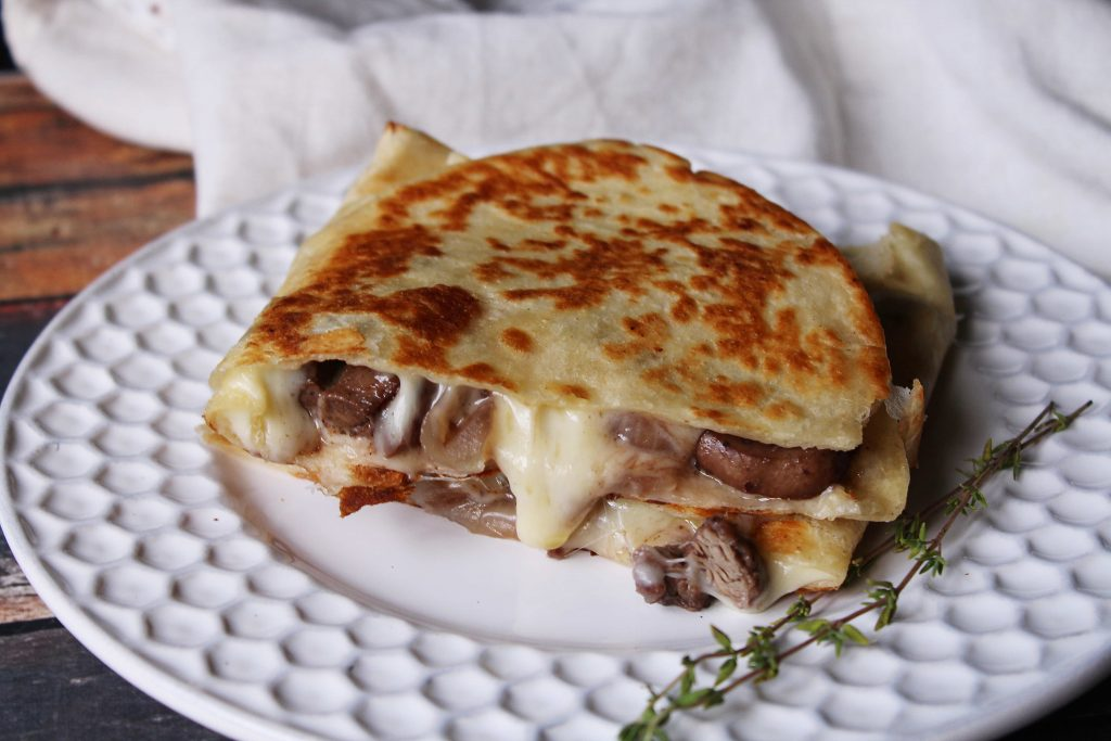 Leftover Steak Quesadillas on a white plate