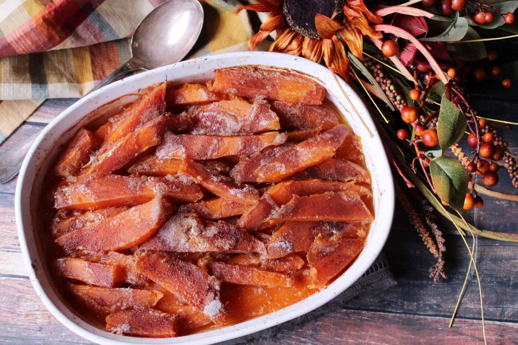 Southern Candied Sweet Potatoes in baking dish
