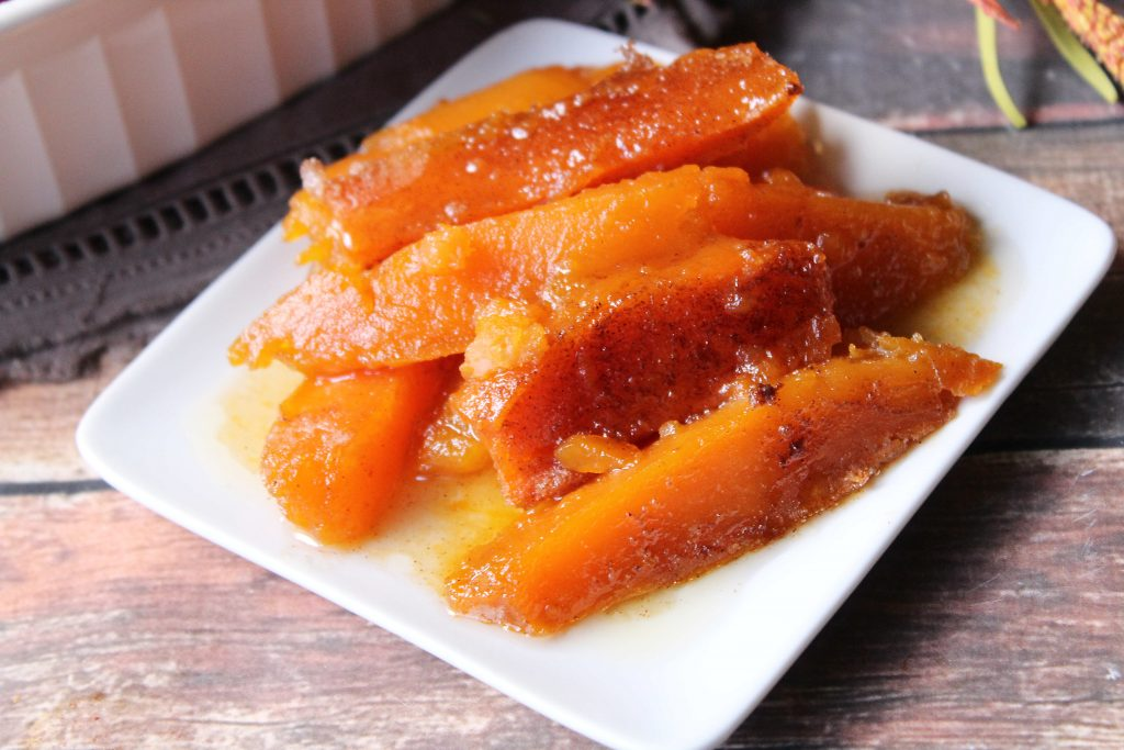 Small serving of sweet potatoes on a plate
