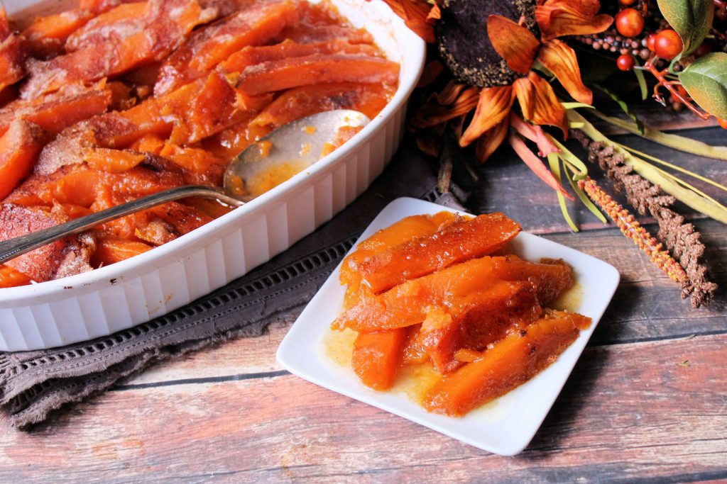 A small serving of southern candied sweet potatoes