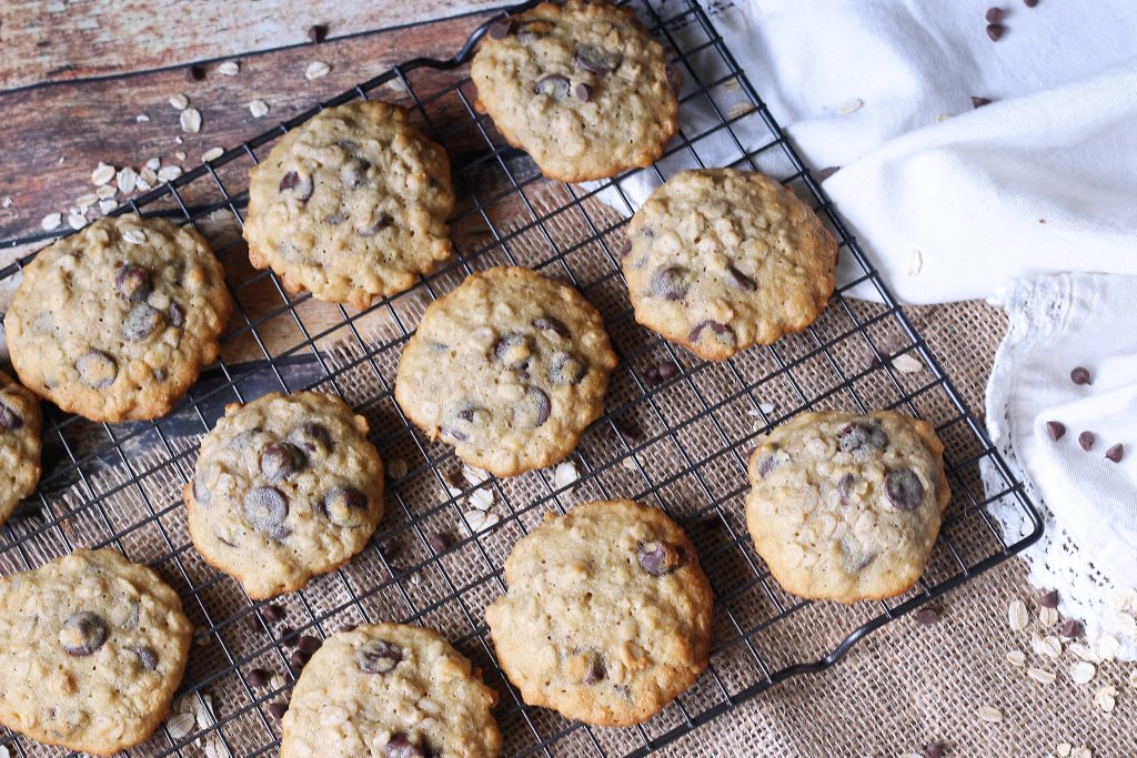 Banana Oatmeal Chocolate Chip cookies on a cooling rack
