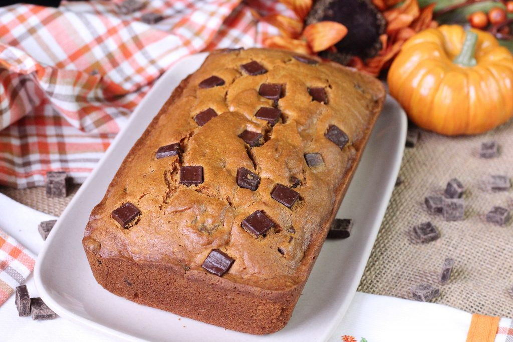 Chocolate Chunk Pumpkin bread on a platter
