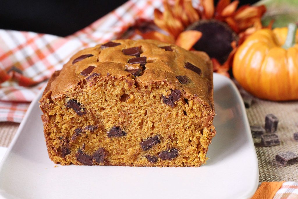 Center of Chocolate chunk Pumpkin Bread
