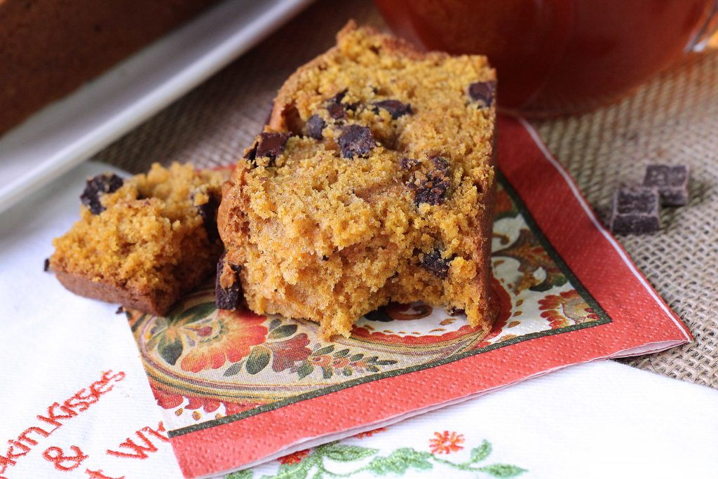 chocolate chunk pumpkin bread with a bite taken out