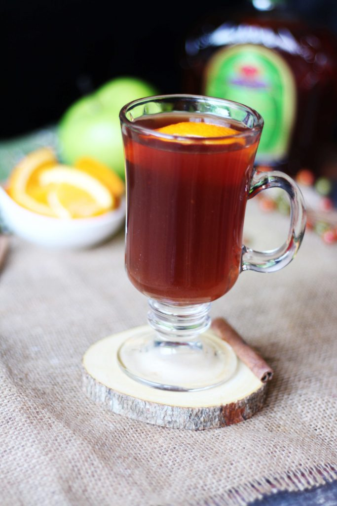 Crown Apple Hot Toddy with a squeezed orange