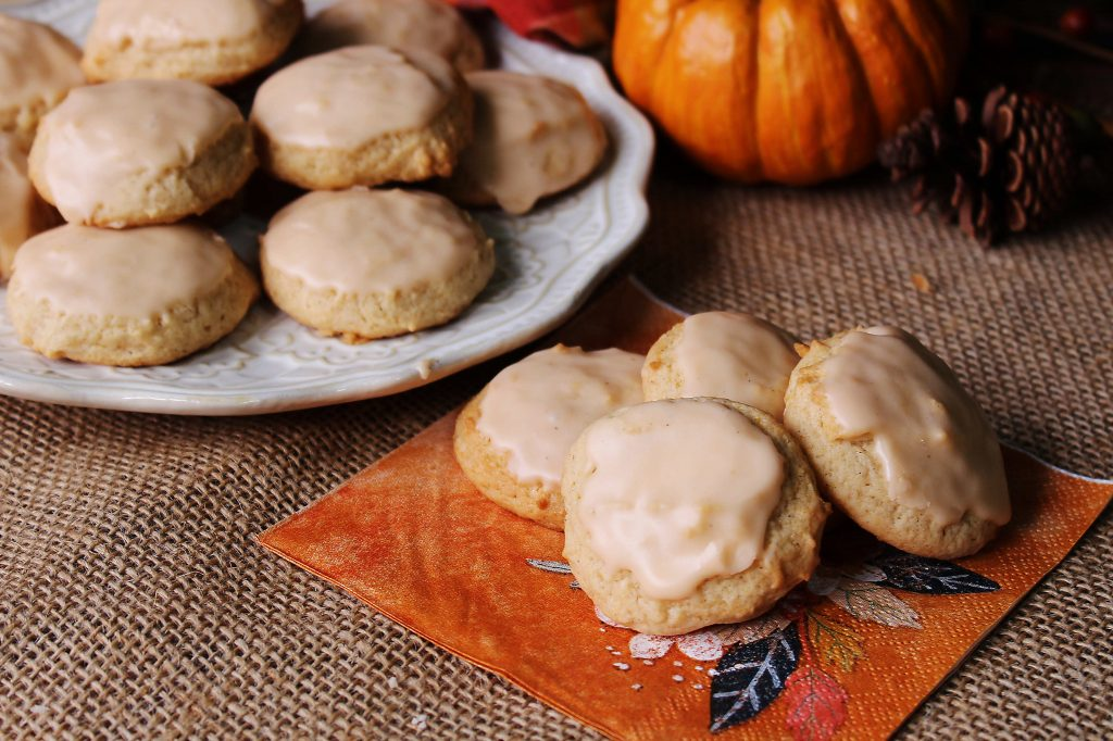Pumpkin Eggnog cookies on plate and napkin