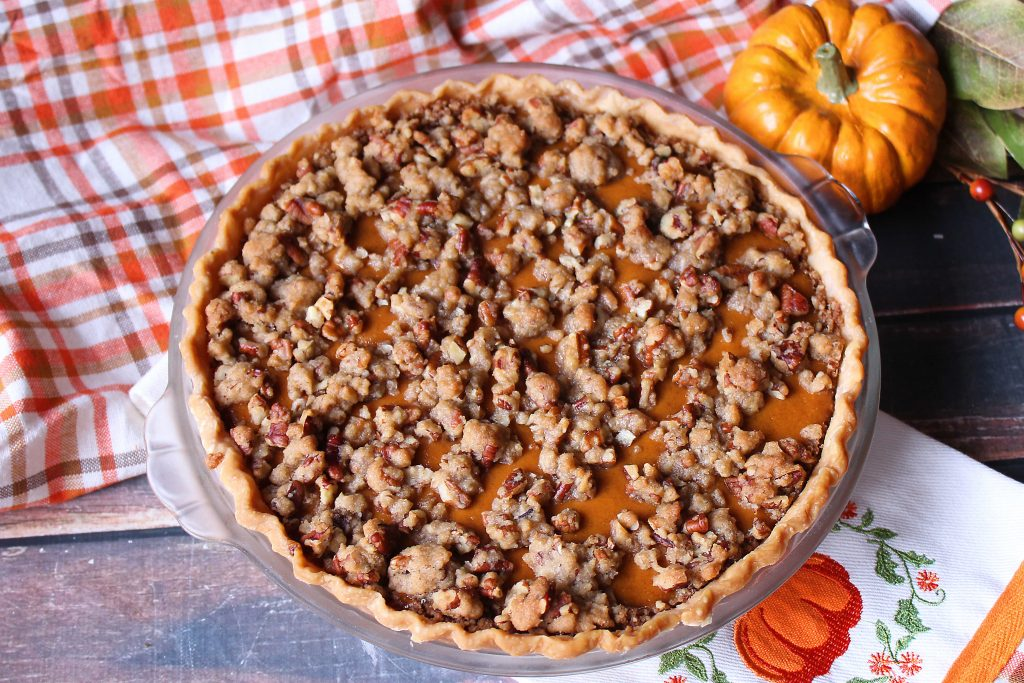 Whole Pumpkin Pie Supreme with streusel topping