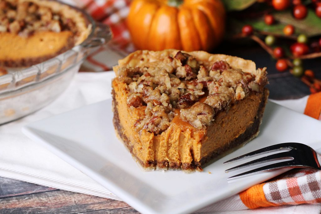 Pumpkin Pie Supreme with a bite taken out
