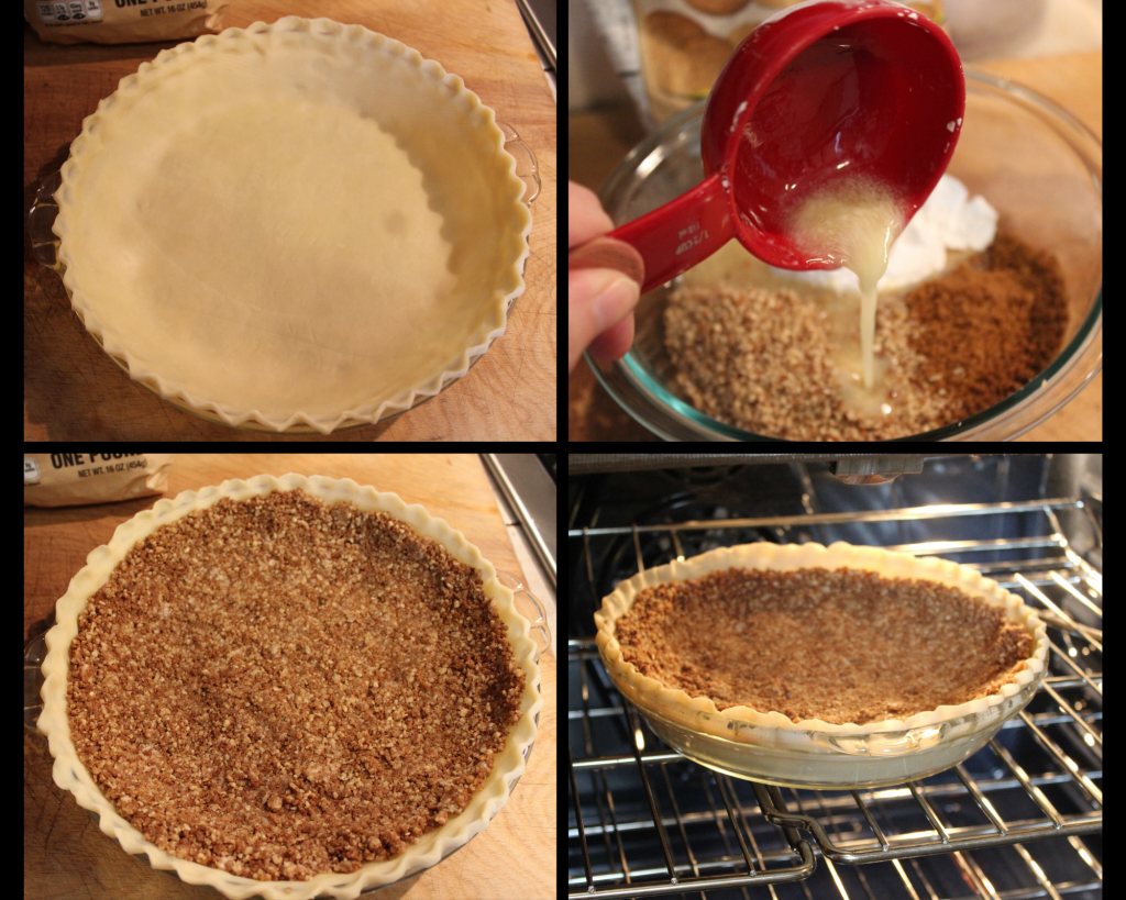 Pie Plate with the steps the get the gingersnap crust on the bottom