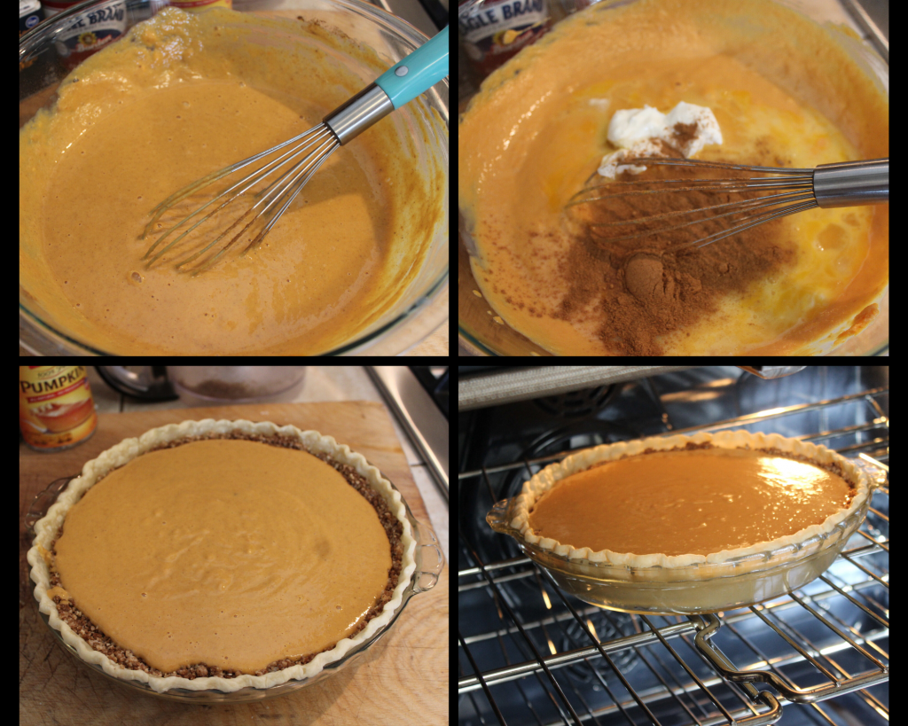 Mixing the pumpkin pie filling , then adding it to shell and baking