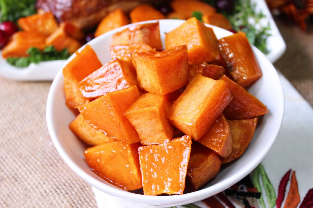 Easy Roasted Sweet Potatoes in a white bowl